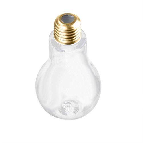 TUDUZ Party Dinner Supplies, Bulb Wasserflasche Brief Niedlich Milch Saft Glühbirnen Tasse Dicht Getränkebecher (Gold, 500ML)