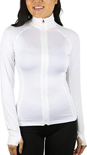 ToBeInStyle Women's Long Sleeve Full Zip-Up Track Jacket - Off-White - Medium