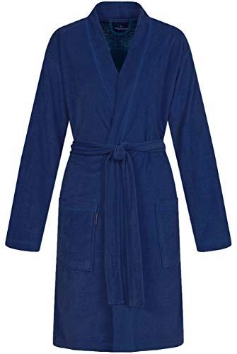 Morgenstern Bademantel Damen Knielang leicht mit Kimono Kragen Blau Dunkelblau Damenbademantel S Baumwolle Frauen weich frottee kurz