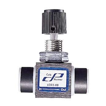 "Cole-Parmer PTFE Multi-Turn Needle Valve, 1/8"" NPT(F), Al Body, 2800 mL/min water by COLE-PARMER"