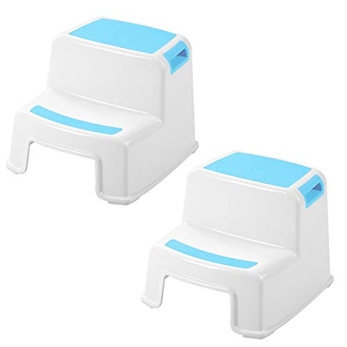 2 Step Stool for Kids(2 Pack, Blue) - Toddler Step Stools for Toilet Potty Training, Bathroom and Kitchen - Slip Resistant Soft Grip for Safety, Stackable