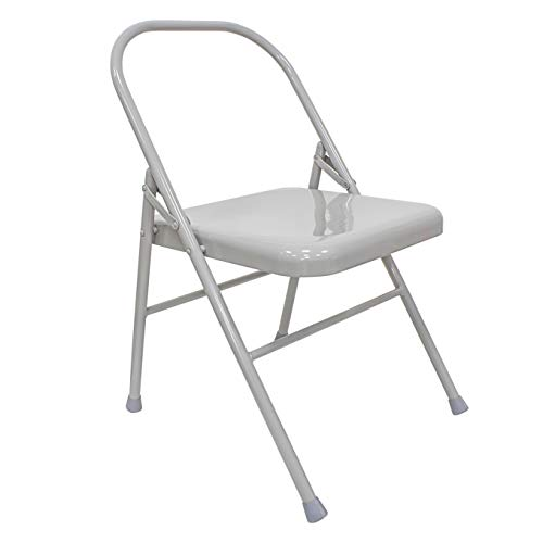 Sport-Thieme Yoga Stuhl Classic | Rückenschonendes Yoga-Equipment | Iyengar Yoga | Klappbar | Hochwertiges Metall mit Gummikappen | Markenqualität