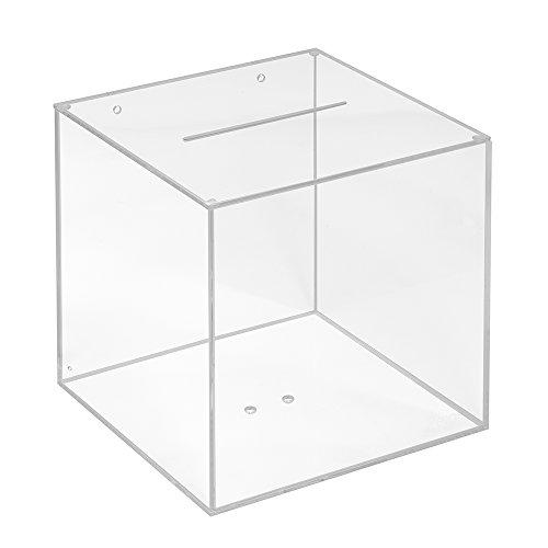 Losbox aus Acrylglas in 200x200x200mm - Zeigis® / Spendenbox/Aktionsbox/Gewinnspielbox/transparent/durchsichtig/Acryl/Plexiglas®