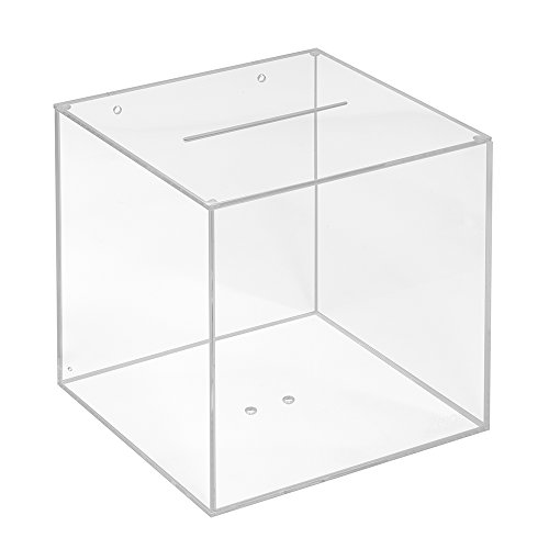 Losbox aus Acrylglas in 200x200x200mm - Zeigis® / Spendenbox/Aktionsbox / Gewinnspielbox/transparent / durchsichtig/Acryl / Plexiglas®