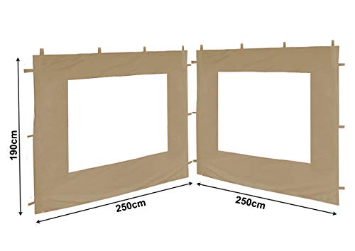 QUICK STAR 2 Laterales para cenador Antiguo Gazebo 3 x 3 m Pared Arena Beige