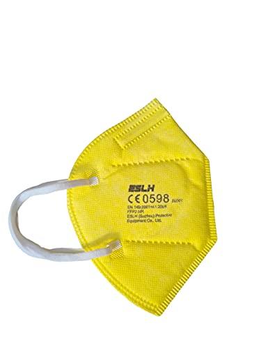 ESLH 20 farbige FFP2 Masken in Buntem gelb. CE zertifizierte FFP2 Masken für Erwachsene mit Bestbewertung durch Palas Institut aus Deutschland