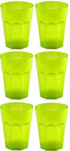 Design 6x Kunststoffbecher Becher Plastikbecher Trink-Gläser Mehrweg Fassungsvermögen 0,4l in der Farbe Grün