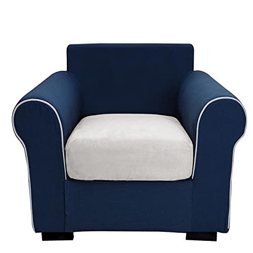 THJ Funda de cojín antideslizante de terciopelo elástico para sofá, fundas de asiento de sofá extraíbles con parte inferior elástica lavable, protector de muebles (blanco)