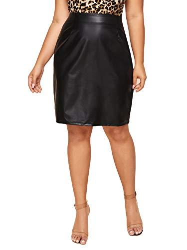 SheIn Women's Plus Size Zipper Detail PU Faux Leather Short Skinny Skirt Black X-Large Plus