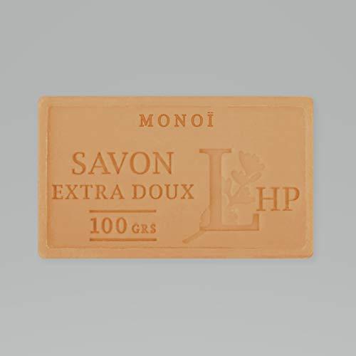 PRODUIT DE PROVENCE - MONOI - SAVON DE MARSEILLE EXTRA DOUX 100 G - DÉLICAT PARFUM NATUREL DE MONOI- GARANTI SANS PARABEN