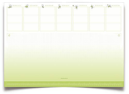 Eine Schreibtischunterlage im grün-weißen Design, Tischunterlage aus Papier zum Abreißen DIN A2 der lustige Wochenplaner