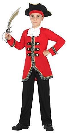 Cisne 2013, S.L. Disfraz de 4 Piezas para Carnaval Infantil niño de Pirata. Color Rojo y Negro. Talla 5/6 años de niño y niña. Cosplay niña Carnaval.