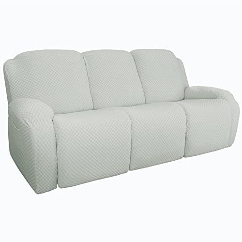 NLCYYQ Fundas de sofá reclinables Jacquard elásticas para sofá reclinable seccional, protector de muebles lavable con parte inferior elástica (marfil, sofá (8 piezas)