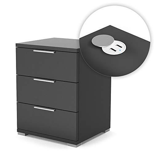 Vicco Nachtschrank Florenz Schublade Kommode Schwarz mit USB Ladestation USB-Hub