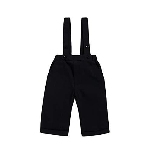 ROMPERINBOX Toddler Baby Boy Chino Uniform Pants,Suspender Bib Overalls for Formal Dress Shirts (Solid Black, 12-18 Months)
