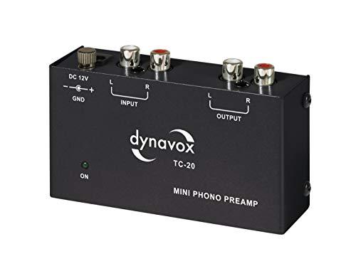 Dynavox TC-20 Phono-voorversterker, compacte aluminium behuizing, voor platenspeler met MM-tast-systemen, zwart