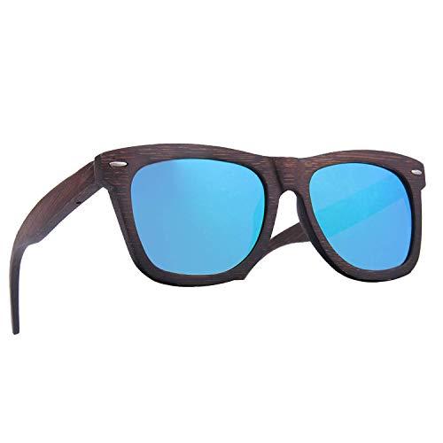 LY4U Occhiali da sole in bambù da uomo e da donna Occhiali vintage con lenti polarizzate galleggianti Occhiali da sole in legno con scatola in bambù