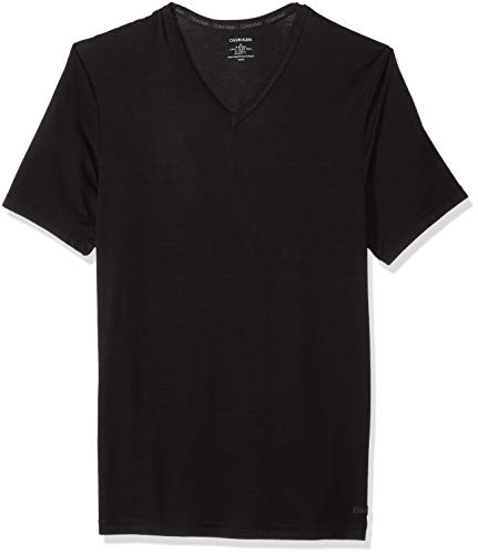 Calvin Klein Herren Ultra Soft Modal Short Sleeve V-Neck T-Shirt Pyjama-Oberteil (Top), schwarz, Klein
