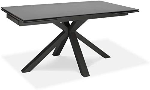 Table à rallonge de 160cm à 240cm Salle à manger moderne avec deux extensions Plateau en céramique sur verre trempé et pieds en métal (Gris graphite)