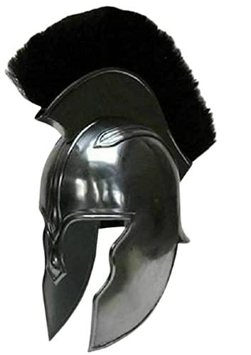 Casco Retro Espartano Armadura Griega Medieval Troy Aquiles Armadura Casco Knight Cruzado Negro