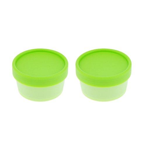 Homyl 2x pots en plastique vide conteneurs cosmétiques bocaux avec argent couvercle en plastique crème boîte de lotion pommades Bouteille alimentaire pot de maquillage 50g Divers Couleurs - vert, comme décrit