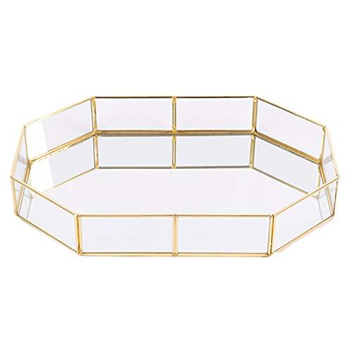 Weimoli 1PC Decorativo de Cristal Bandeja Polígono Grandes Joyas de Oro-Plateado Plato de latón de la Vendimia Bandeja de la Mesa de Centro de Perfume Bandeja 12.38'* 8.45' * 1.97