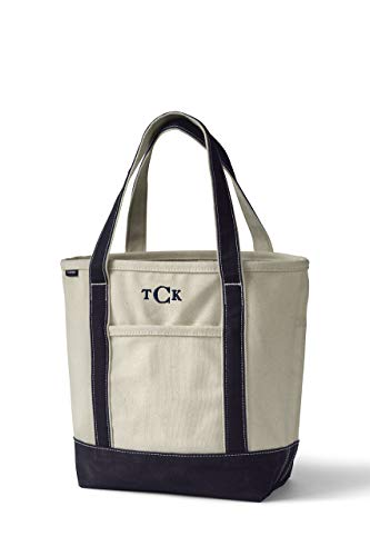 Lands' End Medium Natural Open Top Canvas Tote Bag Natural/True Navy