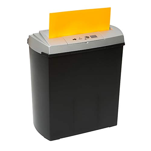 Genie250 CD – Trituradora de papel, hasta 7 hojas, corte en tiras, con destructora de CD, color plateado/negro