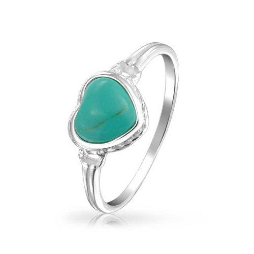 Bling Jewelry Bisel Azul Turquesa Estabilizado El Anillo del Corazón Mujer Adolescente De Novia 925 Diciembre Piedra De Nacimiento