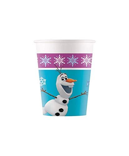 Procos 90819 - Becher Frozen, 8 Stück, Fassungsvermögen 200 ml, Olaf, Einwegbecher, Partygeschirr, Kindergeburtstag
