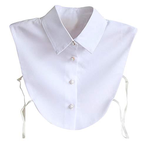 Hocaies Frauen Kragen Vintage Elegante Abnehmbare Hälfte Shirt Bluse Cotton Kragen Weiß Damen Blusenkragen (Chiffon V)