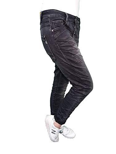 Karostar Denim Stretch Baggy-Boyfriend-Jeans Boyfriend 4 Knöpfe offene Knopfleiste weitere Farben L-40 Washed Black