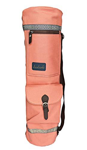 dualseele Eco Yogatasche für Matte groß 70 cm aus Baumwolle/Leinen praktisch mit großen Taschen und Tragegurt aus Baumwolle, robust hochwertig verarbeitet, wasserdicht