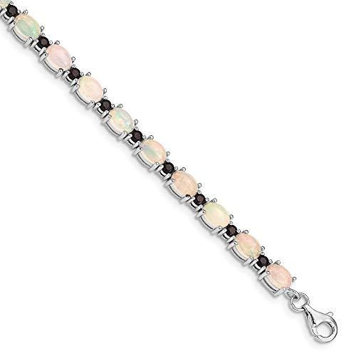 Armband, 925 Sterlingsilber, rhodiniert, weißer Opal und schwarzer Spinell, Schmuck, Geschenke für Frauen – 20 cm