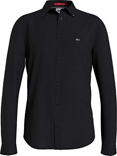 Tommy Jeans Herren TJM Slim Stretch Oxford Shirt Hemd, Schwarz, XL