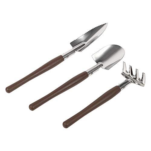 Nivvity Kleines Gartengerät, 3X Schaufelspaten Rechen Kunststoff/Edelstahl Griff Mini Gartenpflanze Werkzeug...