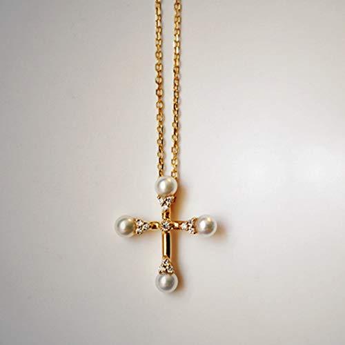 DX.PZ Perla Collar Mujer 18K Amarillo Oro Perla Cruzar Colgantes con para Originales Cadena Joyas para Mujer Regalos