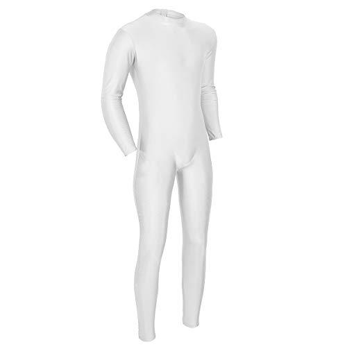 iEFiEL Herren Einteiler Bodysuit Ganzkörperanzug Langarm Jumpsuit Overall Tanz Trikot Ballettanzug Turnanzug mit Reißverschluss Weiß 2X-Large