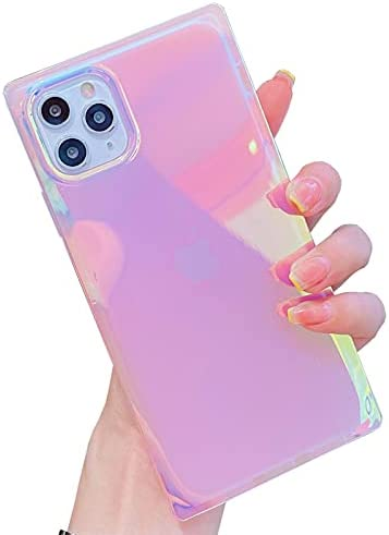 KERZZIL Cute Square Compatible with iPhone 11 Pro Max 6.5-inch Case, Slim Colorful Sparkle Bling Glitter Blu-ray Soft TPU Silicone Shockproof Protective Durable Cases Cover for Women Girls Blue Purple