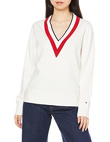 Tommy Hilfiger - Camiseta de mujer Relaxed en V Color blanco. XS
