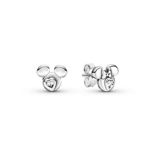 Pandora Disney Mickey Mouse & Minnie Mouse - Pendientes de plata de ley con una piedra de circonita, tamaño: 0,7 cm
