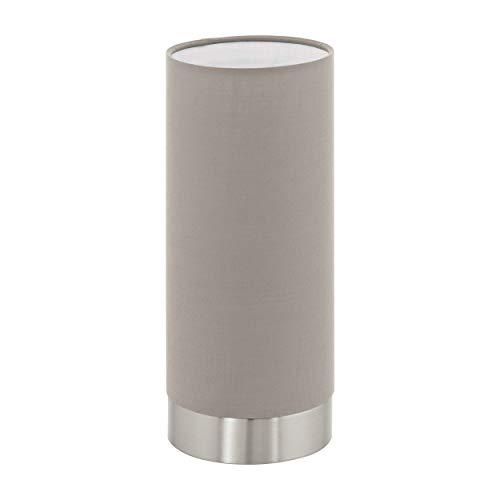 EGLO Tischlampe Pasteri, 1 flammige Textil Tischleuchte, Nachttischlampe aus Stahl und Stoff, Farbe: Nickel matt, taupe, Fassung: E27, inkl. Touch, H: 22,5 cm