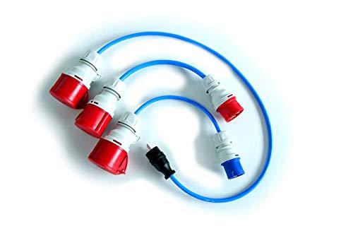 go-e GmbH 3-teiliges Adapterset CEE 16A (Rot & Blau) Schutzkontaktstecker