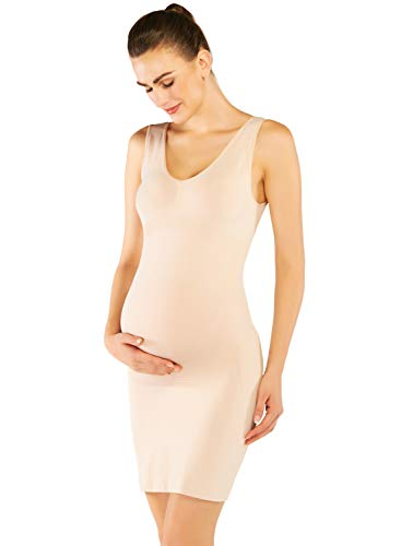 KHAYA Women's Casual Stretch Maternity Dress Beige