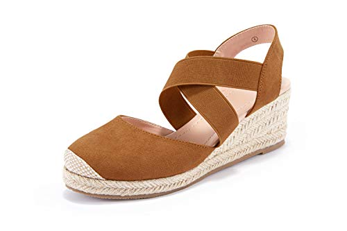 Womens Wedge Sandals Closed Toe Elastic Strappy Espadrille Platform Summer Shoes