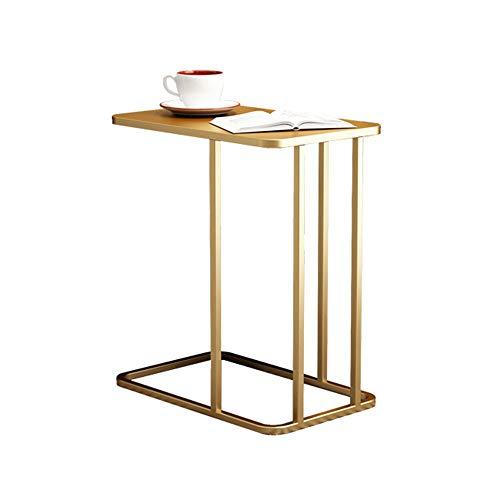 Tafel HAIYU- C-vormige Smeedijzeren Zijkant Woonkamer Eenvoudige Koffie Bank, 50×30×58 cm, Geometrisch Ontwerp, Veiligheid Ronde Hoek, Gratis Installatie
