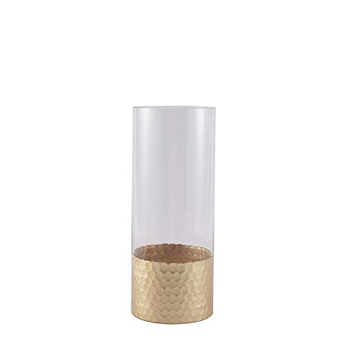 BalsaCircle 2 pcs 12-Inch Tall Clear Gold Honeycomb Trim Glass Cylinder Vases Wedding Party Home Centerpieces Decorations