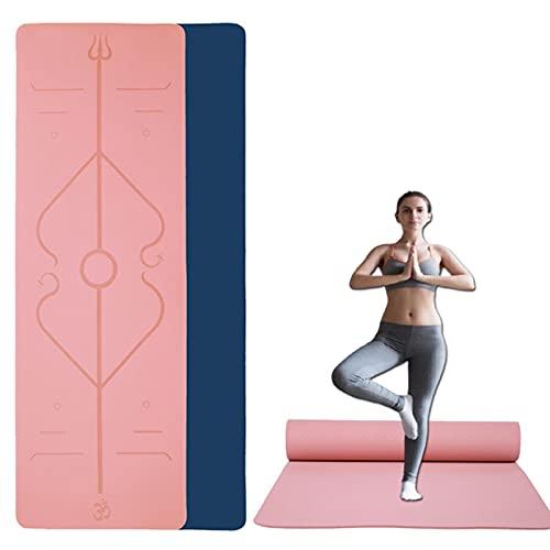 Lumanby Esterilla de yoga TPE para gimnasia antideslizante con sistema de alineación corporal para gimnasio en casa, entrenamiento, yoga, pilates 183 cm