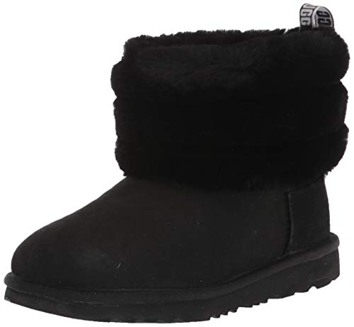 UGG K Fluff Mini Quilted Boot, Black, Size 6