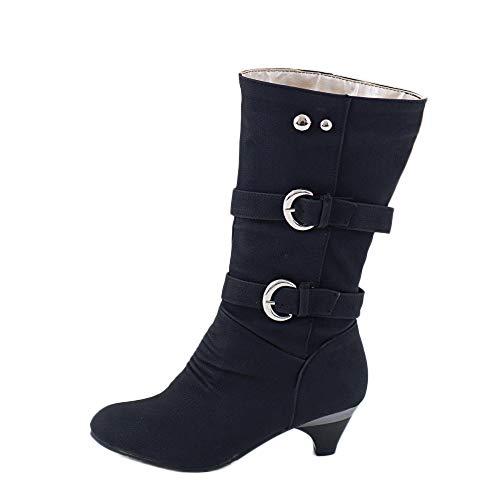YWLINK Damen Kitten Heel Stiefel Mit Hohen AbsäTzen Mittlere Stiefel Elegant Niedrige Ferse Herbst Und Winter